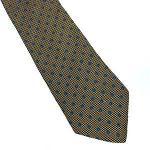 BROOKS BROTHERS BASICS Gold Blue square Silk Tie